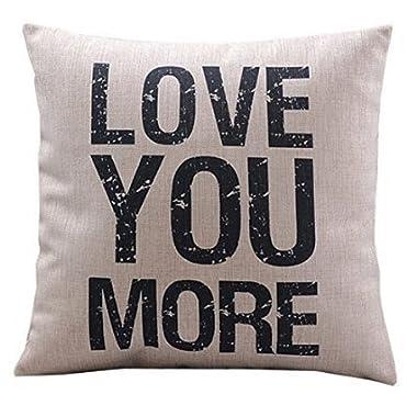 HOSL P22 Cotton Linen Square Vintage Throw Pillow Case Shell Decorative Cushion Cover Pillowcase Quotes - Love You More