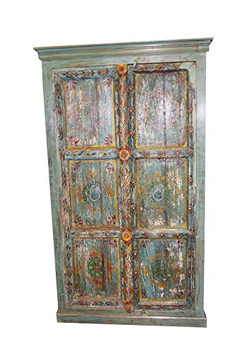 - Mogul Interior Indian Antique Cabinet Armoire Distressed Teal Blue Jaipur Hand Painted Storage Chest
