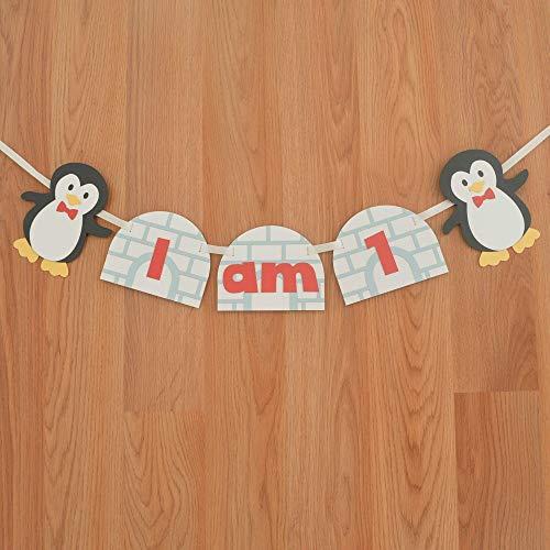 Penguin I am 1 Winter Wonderland Birthday High Chair Banner