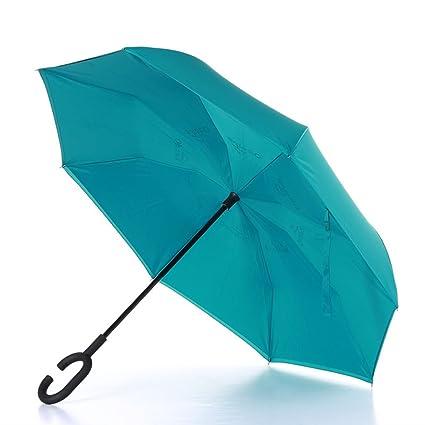 Paraguas plegable plegable reversible de doble capa con manija en forma de C sin manos -