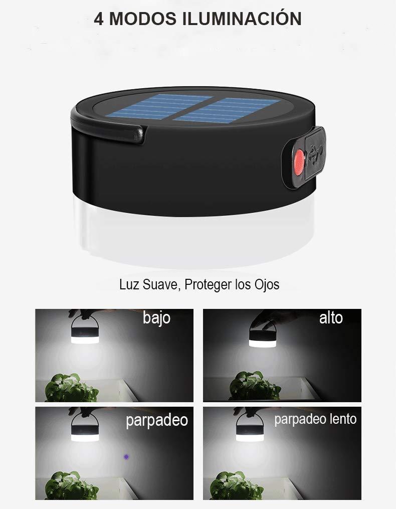 Tanouve Linterna Camping Recargable,Luz Camping Solar USB con 4 Modos Iluminaci/ón//Cargador para Tel/éfono//Impermeable IP55 para Camping Pesca