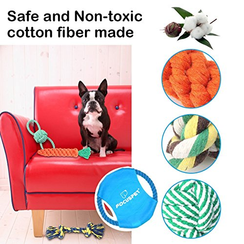 Dog Toys Set, FOCUSPET Small Dog Pet Cat Cotton Rope Chew Play Toys Set Pack Kit for Pull Play Training Teeth Cleaning Durable Chew Interactive Knot Dogs Toys for Puppy Small & Big Dogs,8 Pack by FOCUSPET (Image #5)