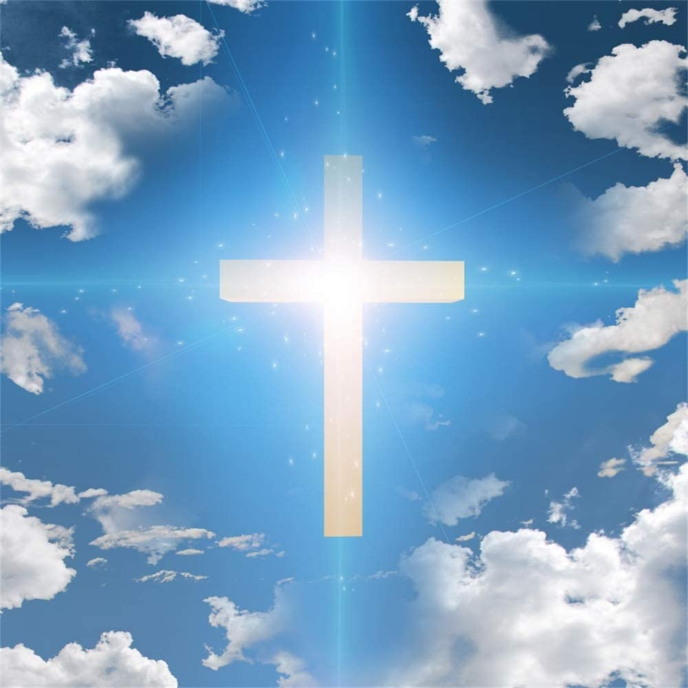 Amazon.com : AOFOTO 5x5ft Blue Sky Christian Cross Backdrop White Clouds  Crucifixion Resurrection of Jesus Divine Light Crucifix Background for  Photography Religious Church Decoration Photo Studio Props Vinyl : Camera &  Photo