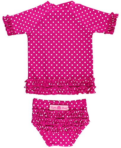RuffleButts Little Girls Rash Guard 2-Piece Swimsuit Set - Berry Polka Dot Bikini with UPF 50+ Sun Protection - 3T