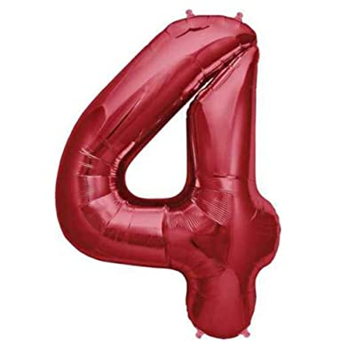 Tellpet Number 4 Balloon, 4th Birthday Party Decorations Supplies for Girls, Foil Mylar Helium Number balloon, Red, 40 Inch: Toys & Games