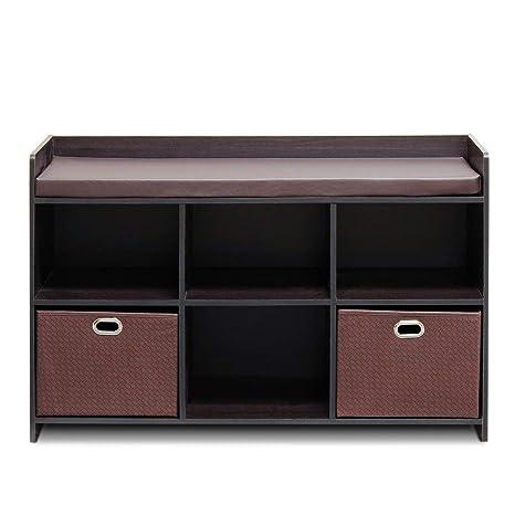 Phenomenal Amazon Com Brown Wood Cushioned Storage Bench With Storage Beatyapartments Chair Design Images Beatyapartmentscom