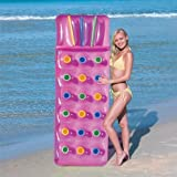 Bestway Inflatable 18 Pocket Fashion Sun Lounger Lilo Swimming Pool Air Bed Beach Mat 2 Colours : Pink Or Blue (Pink) by WB