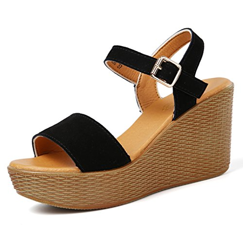 Genepeg Womens Sandals Summer Shoes Platform Stripe Leather Strap Wedge Slipper Sandals