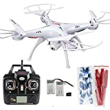Xiaomax Syma X5C-1 Quadcopter New Upgraded Version of X5C 4 Channel 2.4GHz RC Explorers Drone Onboard HD Camera with 4GB Micro SD Card, Two Extra 600 mAh Batteries and Rotating Blades
