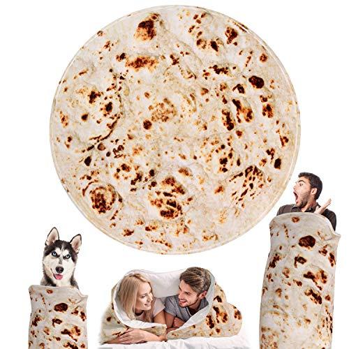 Outivity Burritos Tortillas Blanket, Novelty Giant Human Burritos Wrap Blanket, Soft Comfort Round Gag Food Blanket Throw Blanket for Adults