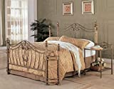 Coaster Fine Furniture 300171q Metal Bed Headboard and Footboard, Queen, Gold Finish