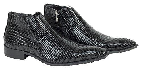 zip zip Shoes chiusura italiana In vera uomo nera pelle Shine Shine Shine Hi Da IY0HvB