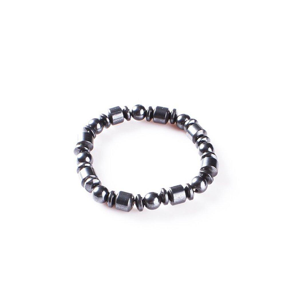 Meolin Black Health Care Magnetic Therapy Stone Bracelet Healing Stone Bracelet Simulated Hematite Bracelet,Black three kinds of beads,19cm