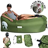 Air Lounger - Inflatable Lounger - Proceeds  Conserve Wildlife via Nonprofit BornFree USA - Ripstop Nylon - Cary Case, Bottle Opener, Pockets, Stakes - Pool Float - Green - By Terra Bella