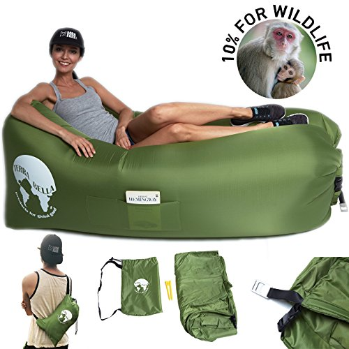 Air Lounger Inflatable Lounger Proceeds Conserve Wildlife via Nonprofit BornFree USA Ripstop Nylon Cary Case, Bottle Opener, Pockets, Stakes Pool Float Green By Terra Bella