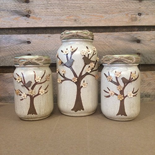 Set of 3 Hand Painted and Embellished Tree Mason Jars. Birds and Flowers adorn the hand painted trees on these shimmering pale beige jars - Bird Hand Painted Vases