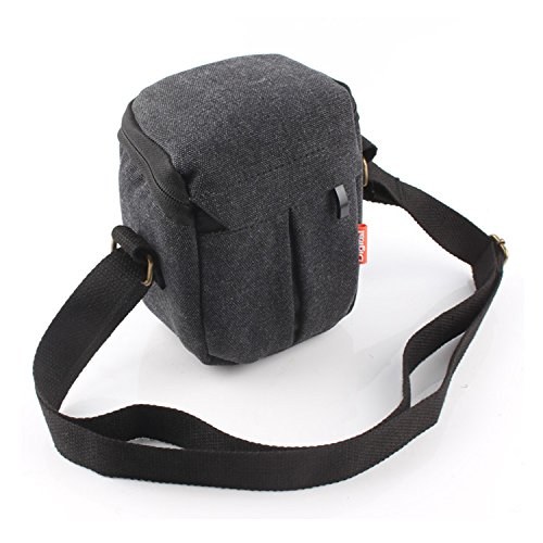 CEARI DSLR Camera Water Resistant Canvas Camera Case Bag for Canon Powershot G1X Mark II G15 G16 G5X G7X SX160 SX170 SX700 Digital SLR Camera - Black