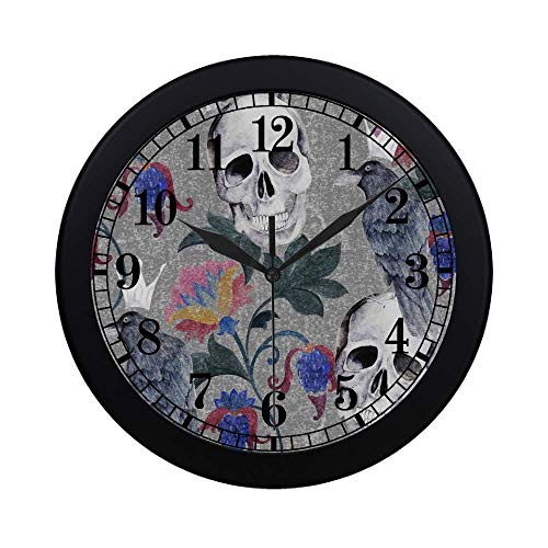 - InterestPrint Halloween Watercolor Gothic Floral Paisley Flowers Skull and Raven Modern Round Wall Clock Decorative Quartz Clock for Office School Kitchen Bedroom Living Room, Black
