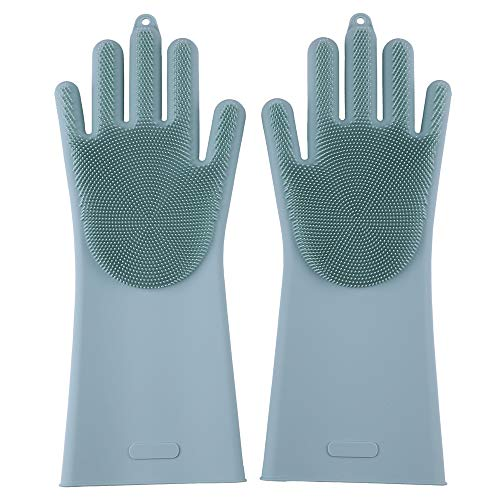 Silicone Gloves Brush Pair, Easy to Clean Kitchen a Variety of Food and Supplies, Dishes, POTS, Bowls, Vegetables, Fruits, Shellfish Seafood.Can Also Clean Skin, Ceramics, Glass,Pets, Cars (Green)