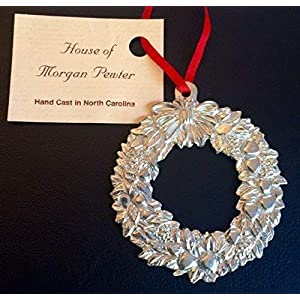 878 Wreath Holiday Christmas Ornament Pewter 5