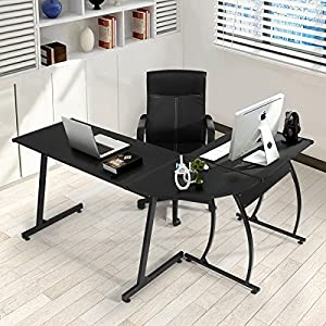 Computer-Desk Office Desk L-Shaped Wood Corner Desk Computer Workstation Large PC Gaming Desk Home-Office Table…