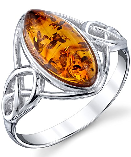(Sterling Silver Baltic Amber Celtic Design Ring with Cognac Color Marquise Shape Center 5)