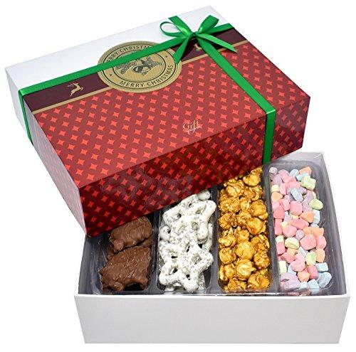 Gift Universe Christmas Gift Box with Caramel Popcorns, Snowflake Yogurt Pretzels, Marshmallow Bits and Milk Chocolate Caramel Pecan Patties, 1 LB (454g) (Christmas Chocolate Gift Box)
