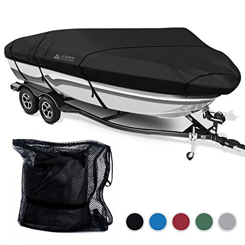 Leader Accessories 600D Polyester 5 Colors Waterproof Trailerable Runabout Boat Cover Fit V-hull Tri-hull Fishing Ski Pro-style Bass Boats,Full Size (20'-22'L Beam Width up to 100'', Black) (22' Black Bass)