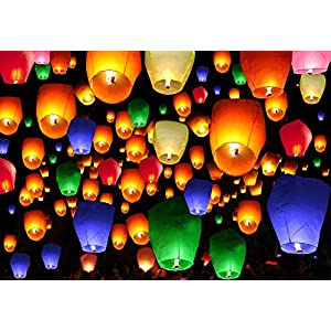 50 Pcs Assorted Color Chinese Paper Lanterns Sky Fire Fly Candle Lamp for Wish Wedding Party