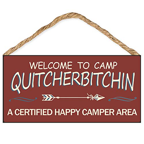 """Calien Welcome to Camp Quitcherbitchin 6"""" x 12"""" Hanging Wooden Camping Decor Sign Gifts for Campers"""