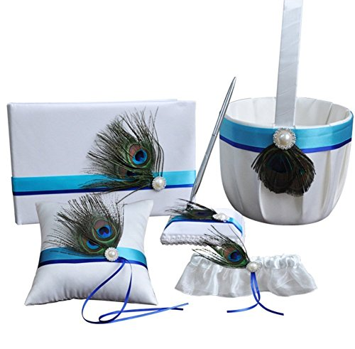 Youzpin 5Pcs Romantic Wedding Ceremony Party Favor Sets, Peacock Feather Wedding Ring Pillow+ Girls Flower Basket +Guest Book +Pen Set + Garter for Elegant Wedding Party Wedding Decoration Supplies