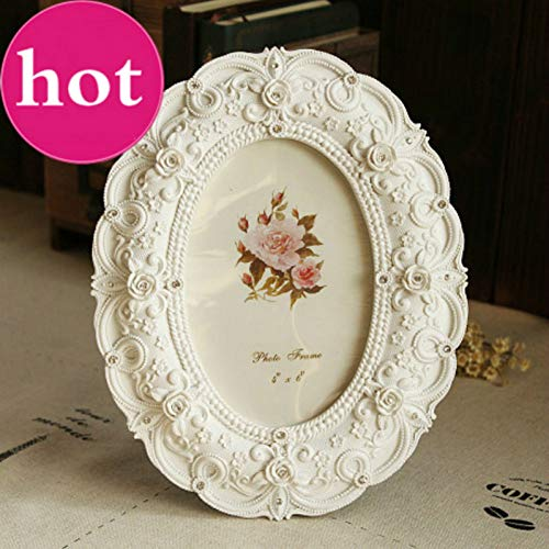 MMYU Photo Frame White Photo Frame 6 Inch Frames Resin Decoration Accessories Stereo Roses Decorated Wedding Gift