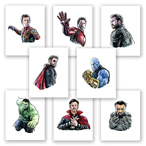 AtoZStudio Superhero Wall Art // Avengers Endgame Posters // Infinity War Prints // Home Bedroom Party Decor // Set of 8 Pictures // Size 8x10 in (8x10)