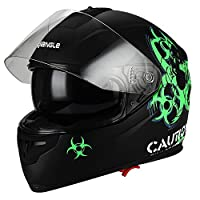 """Biohazard"" Full Face Matte Green Dual Visor Street Bike Motorcycle Helmet by Triangle [DOT] (X-Large) from Zhejiang Jixiang Motorcycle Fittings Co., LTD"
