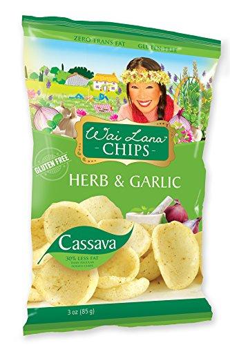 Wai Lana Cassava Chips   Herb & Garlic, Gluten-Free, Vegan, 3 Ounce (Pack of 6)