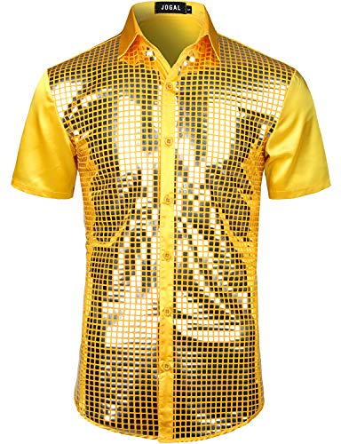 JOGAL Mens Dress Shirt Silver Sequins Short Sleeve Button Down 70s Disco Shirt Party Costume (Yellow Silver, Small) -