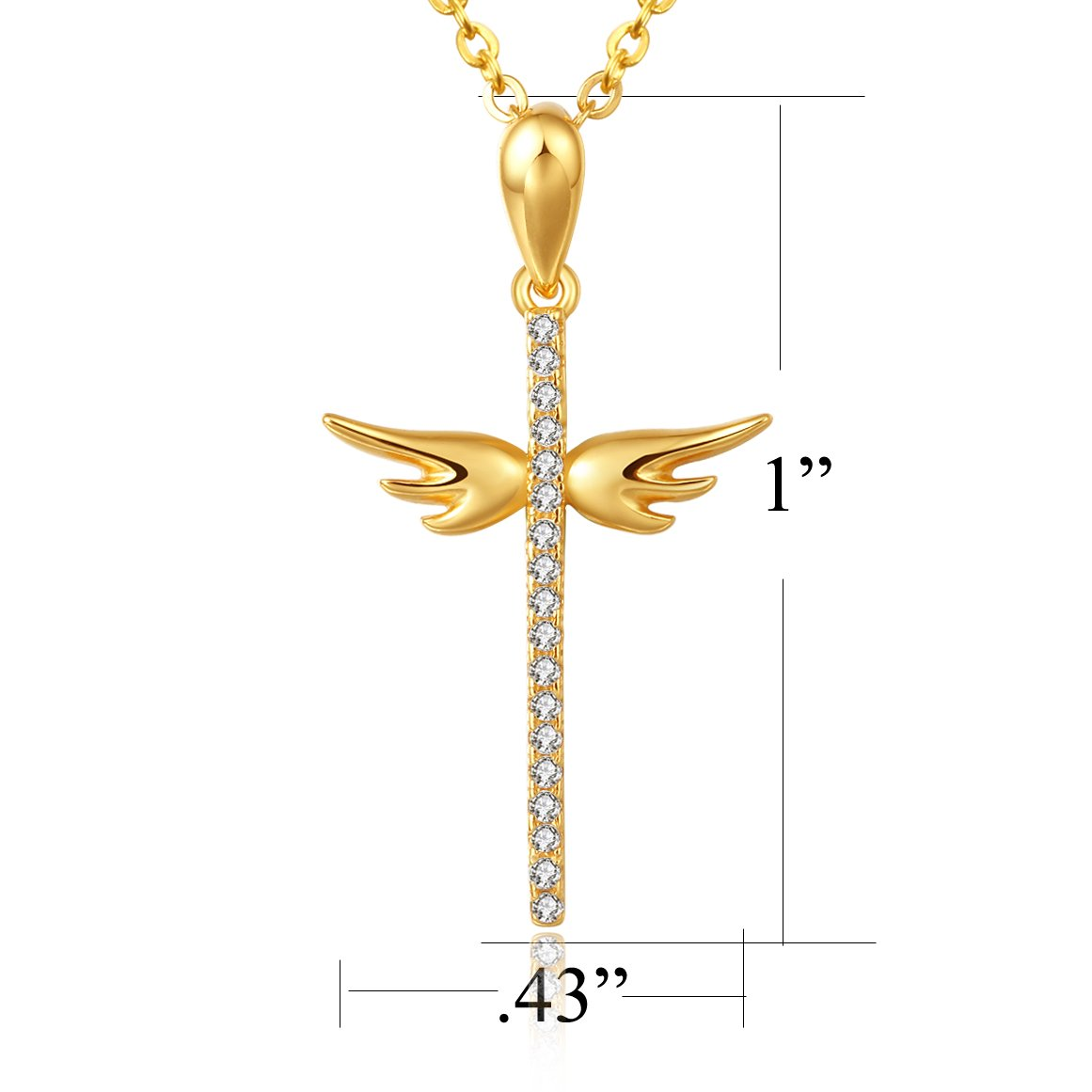 4c8add9cb Amazon.com: 8Muses Angel Wings Cross Pendant Necklace Simulated Diamond 925  Sterling Silver Women Necklace By, 16