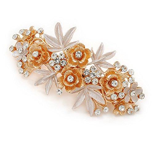 (Avalaya Large Two Tone Diamante Rose & Daisy Floral Barrette Hair Clip Grip (Rose Gold/Matt Silver Tone) - 10cm Across)