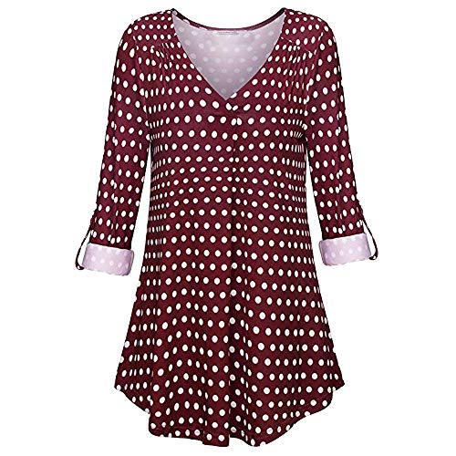 Tops Longues V Chemisier Mode A Tees Pois Chic Causal Sexy Col Femme Ladies Amples Rouge Autumne Blouse Shirts Manche nZxqR4wOn