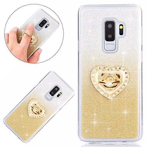 Price comparison product image IKASEFU Galaxy S9 Plus Case, Shiny Back with Ring Shockproof Frosted Gradient color Glitter Bling Cute Soft Ultra Slim TPU silicone Thin Bumper Protective Cover for Samsung Galaxy S9 Plus, Gold