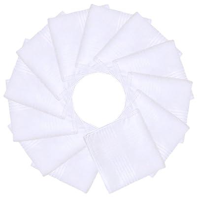 Mouchoir en Coton, Fascigirl 12 PièCes Mouchoir de Poche Hanky de Poche Blanc Pur Occasionnel pour Des Femmes
