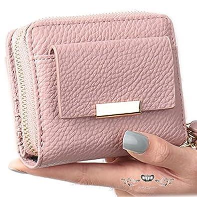 f26e5051f596 Amazon | 二つ折り財布 レディース コンパクト ラウンドファスナー レザー 小さい がま口 ウォレット 女性 薄ピンク, フリーサイズブランド  安い 大人 革 流行り 40代 ...