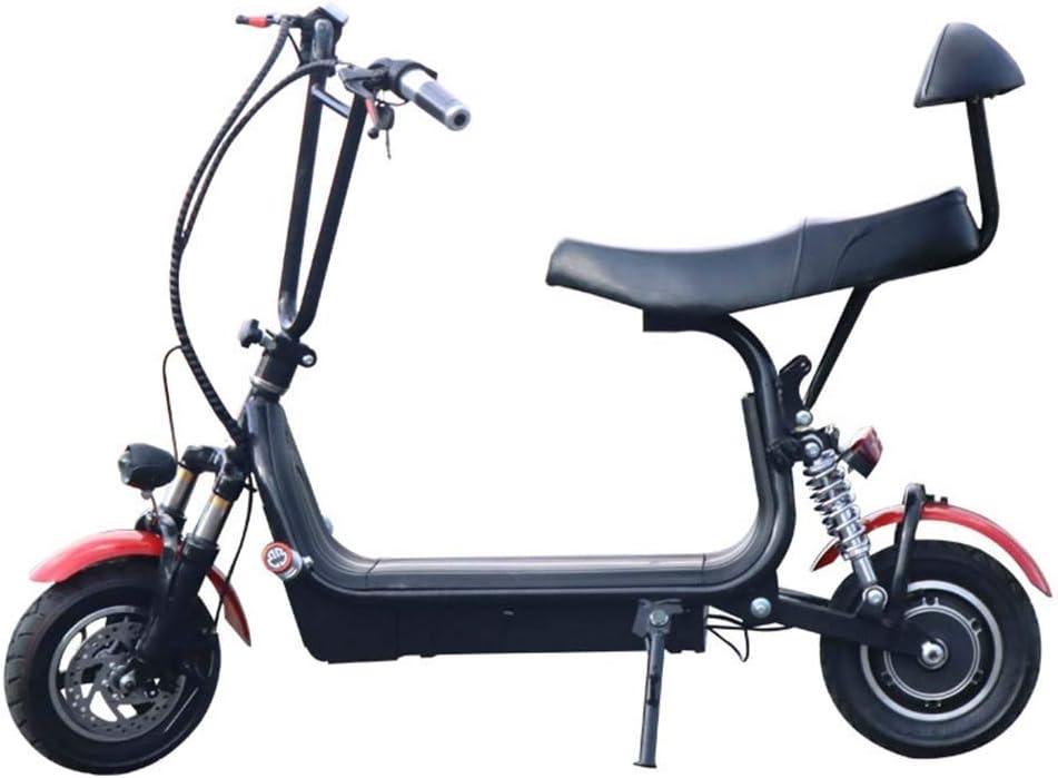 電動スクーター 電気自動車ミニ折りたたみスクーター48Vリチウムバッテリースクーター大人旅行バッテリーカー2輪アシスト自転車は仕事に旅行に適しています (Color : 黒, Size : 120X85CM) 黒 120X85CM