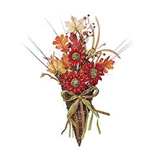 Burnt Red Sunflower Wild Flowers with Twig Basket 24 x 12 Harvest Wreath Decoration 24