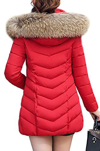 Red Removable Women's YMING With Fur Hood Trim Faux Jacket Down 14qpUz