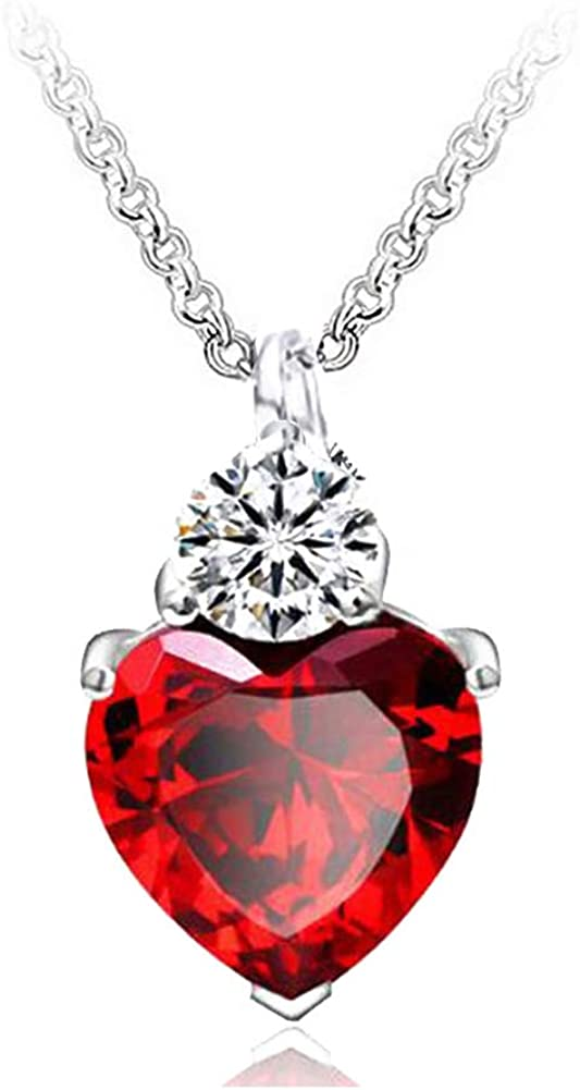 IDOXE Queen of Hearts Necklace 925 Sterling Silver Chain January Birthstone Red Heart Toy Princess Halloween Accessories Jewelry Valentine's Gift for Her ( Red January)