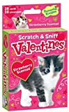 Peaceable Kingdom Scratch and Sniff Kitten Valentines - 28 Strawberry Scented Card Pack