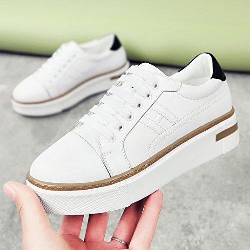35 Single Plate Weiß Farbe Student Schuhe Damenschuhe Spring Plattform HWF Bottom Sports Weiblich Casual größe Dicke Weiß Frauen Schuhe PU1BwOcqn