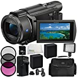 Sony FDR-AX100E 4K Ultra HD Camcorder (PAL) 9PC Accessory Bundle – Includes 2 Replacement Batteries + AC/DC Rapid Home and Travel Charger + 64GB SD Memory Card + MORE
