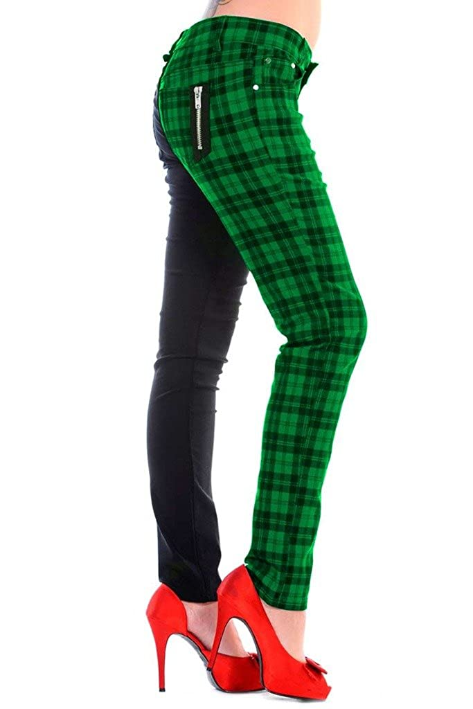 Banned Womens Green Half Tartan Plaid Check Emo Punk Split Leg Skinny Trousers